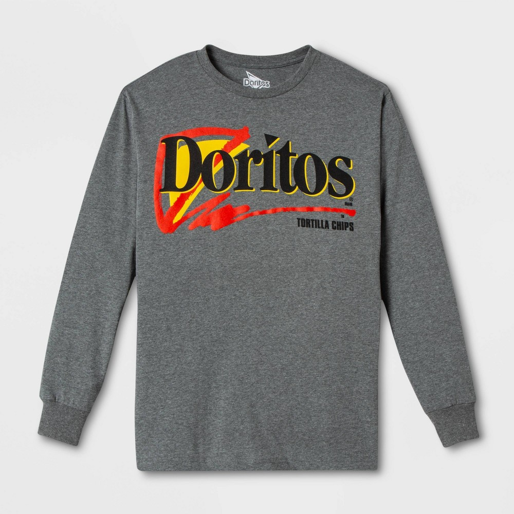 Image of Men's Doritos Long Sleeve Graphic T-Shirt - Gray S, Men's, Size: Small