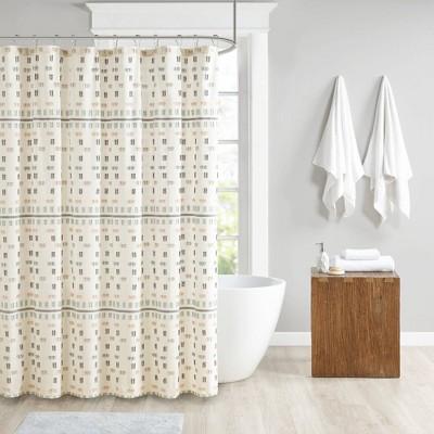 Ari Cotton Jacquard Shower Curtain Aqua
