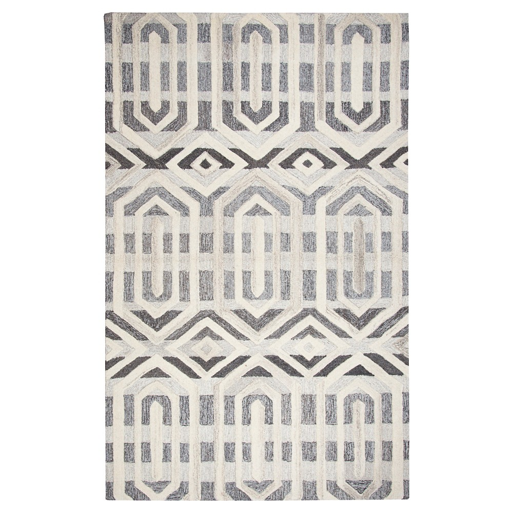 Grey Geometric Rug (5'x8') - Rizzy Home, Gray