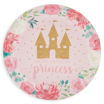 Blue Panda 80 Pack Pink Princess Castle Disposable Plates 9 Inches Kids Birthday Baby Shower Party Supplies