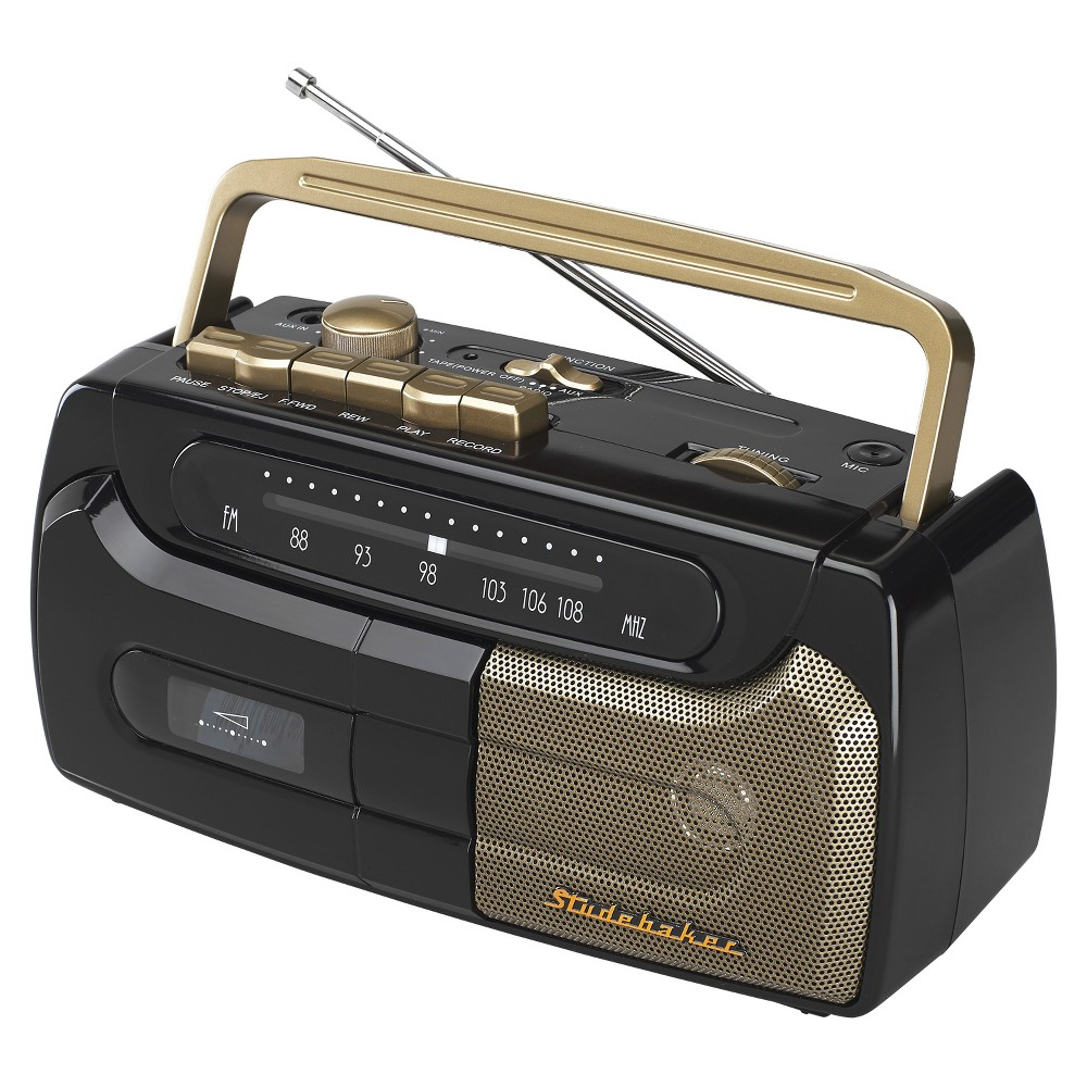 Studebaker Portable Cassette Player/Recorder with FM Radio and AC/DC Operation (SB2127) - Black The Studebaker SB2127 Cassette Player/Recorder with FM radio is a retro portable with classic styling and easy to use features. This unit features cassette recording from the radio, mic (built-in condenser mic) and aux-in jack. The speaker delivers excellent sound with clear and static-free audio. Play music from other devices like your tablet, iPod, MP3 player or other digital audio players using the built-in auxiliary input jack. The compact, durable design features a carrying handle and telescopic antenna. The SB2127 operates on 120V AC or 4 x  c  batteries (not included) which makes the radio perfect for taking with you anywhere you go. Color: Black.