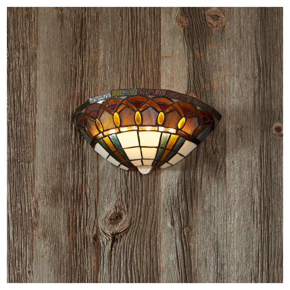 Image of Battery-Operated Stained Glass Half Moon Sconce with Jewels with remote