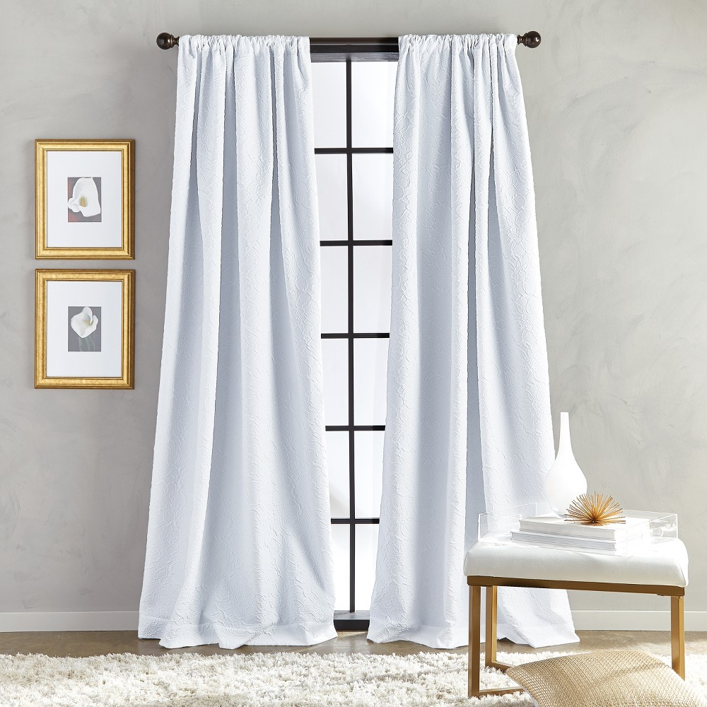 "Image of ""108"""" Bloomsbury Poletop Lined Curtain Panel White"""