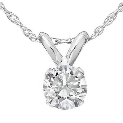 Pompeii3 1/2ct Solitaire Diamond Pendant Necklace 14K White Gold - image 1 of 4