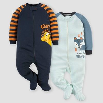 Gerber Baby Boys' 2pk Fox/Lion Sleep N' Play - Orange/Gray/Blue 0-3M
