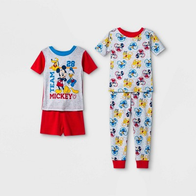 Toddler Boys' 4pc 100% Cotton Mickey/Donald Snug Fit Pajama Set - Red