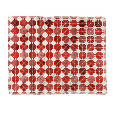 "50""x60"" Holli Zollinger Decoflower Woven Throw Blanket Red - Deny Designs"