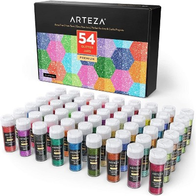 Arteza Glitter Shaker Jars Art Supply Set, Neon, Holographic - 54 Piece