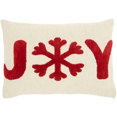 "12""x18"" Chenille Woven 'Joy' Christmas Lumbar Throw Pillow Ivory/Red - Mina Victory"