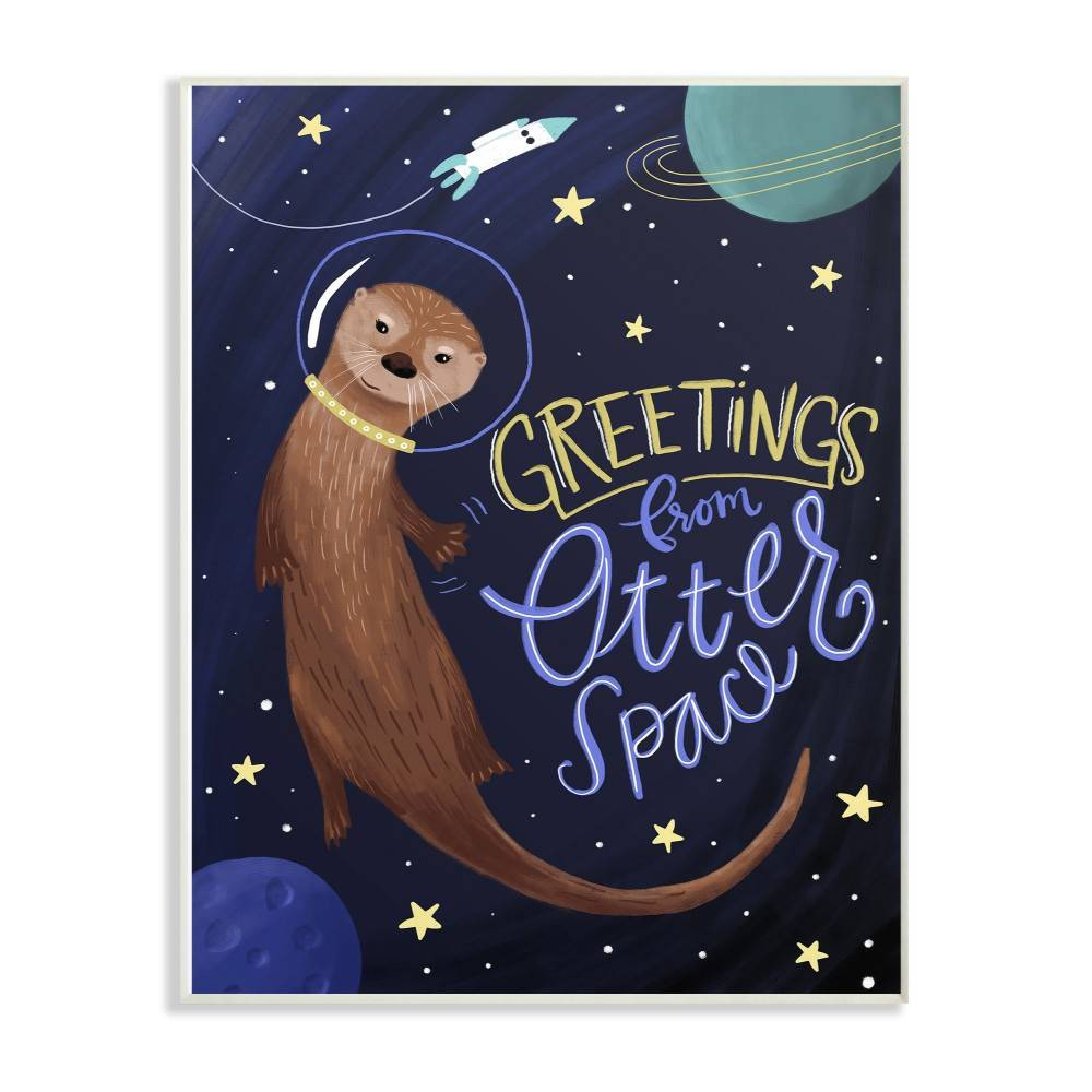 """Image of """"10""""""""x0.5""""""""x15 Otter Space Funny Animal Wall Plaque Art - Stupell Industries"""""""