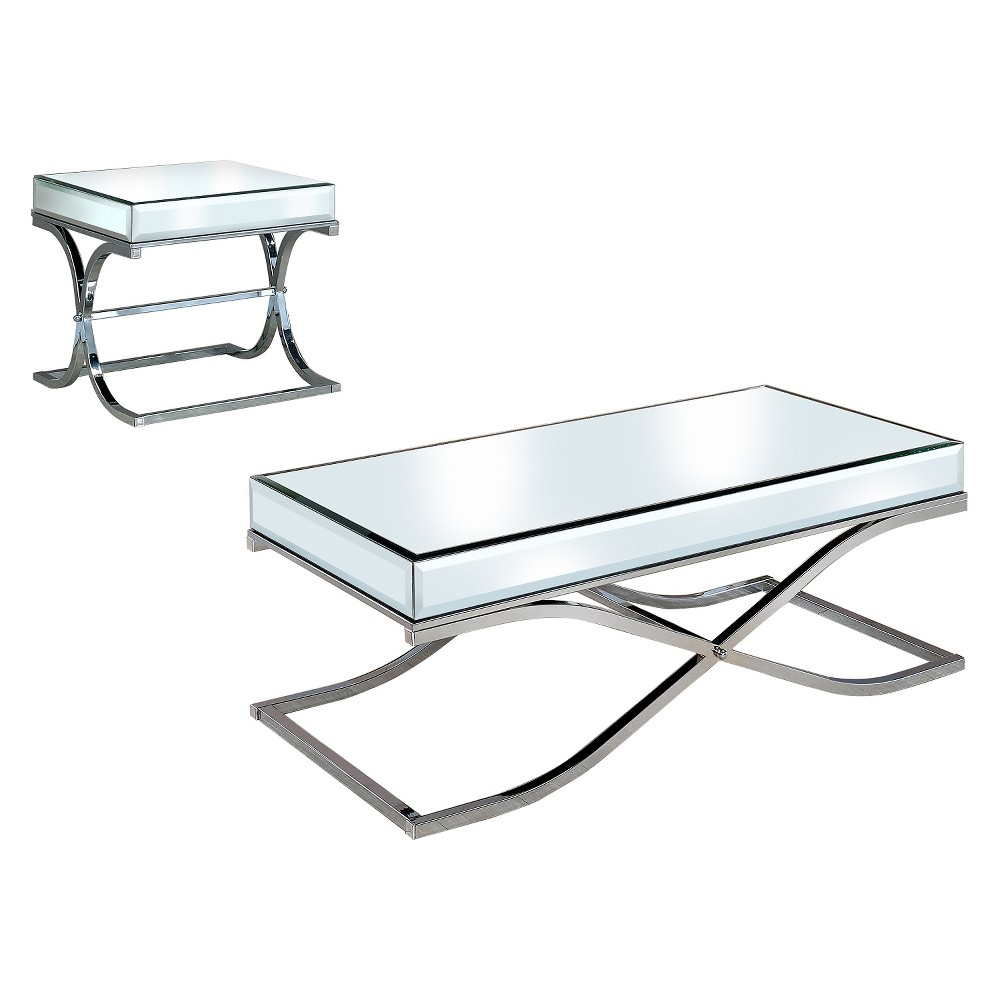 Image of 2pc Lila Occasional Table Set Chrome - ioHOMES, Gray