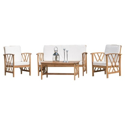 Langdon 4pc Acacia Wood Patio Chat Set with Cushions - Brown Patina - Christopher Knight Home