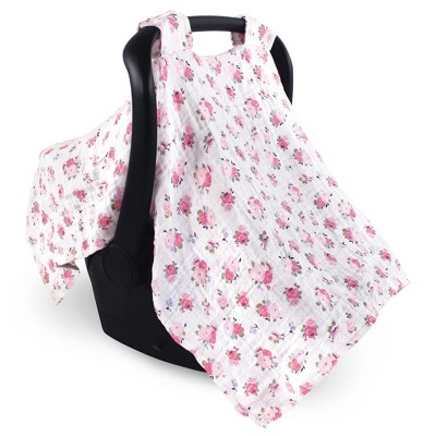 Luvable Friends Baby Girl Muslin Car Seat Canopy, Floral, One Size