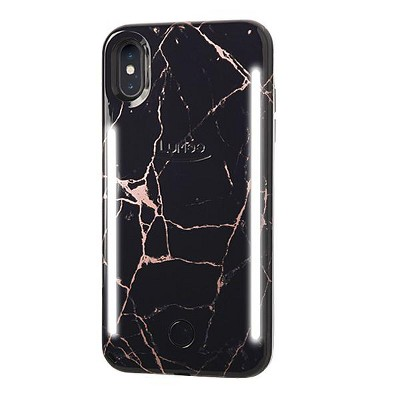 LuMee Duo Metallic Marble iPhone Xs / X Case - Rose Metallic Black Marble