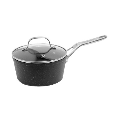 The Rock by Starfrit Aluminum 2 Quart Saucepan with Glass Lid
