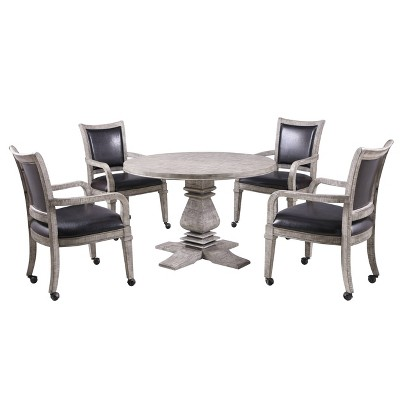 Hathaway Montecito Dining and Poker Table Set with Four Chairs - Driftwood