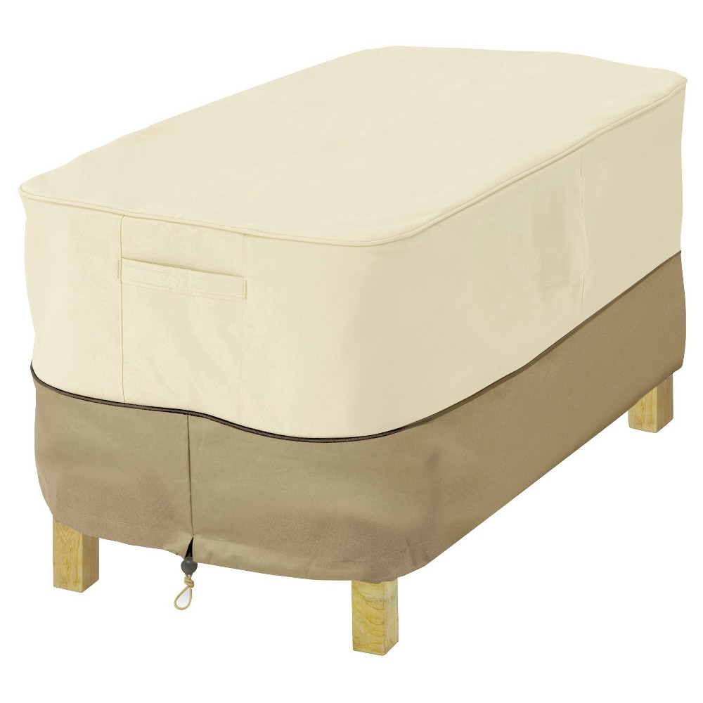 Veranda Rectangular Patio Ottoman/Side Table Cover X-Small - Light Pebble - Classic Accessories