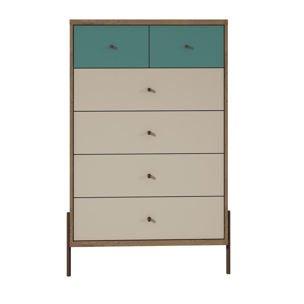 48.43 Joy Tall Dresser Blue/Off-White (Blue/Beige) - Manhattan Comfort