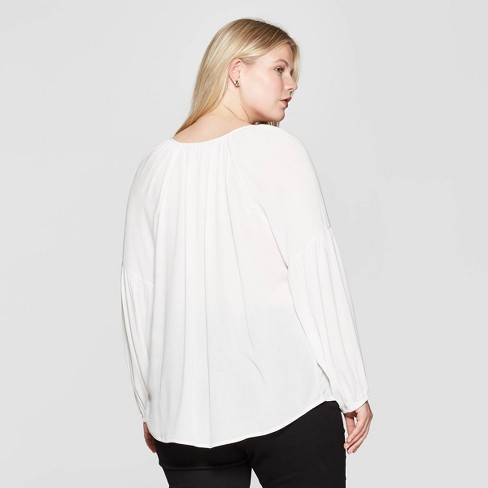 93f3939eca Women s Plus Size Long Sleeve V-Neck Poet Blouse - Ava   Viv™ White 3X    Target