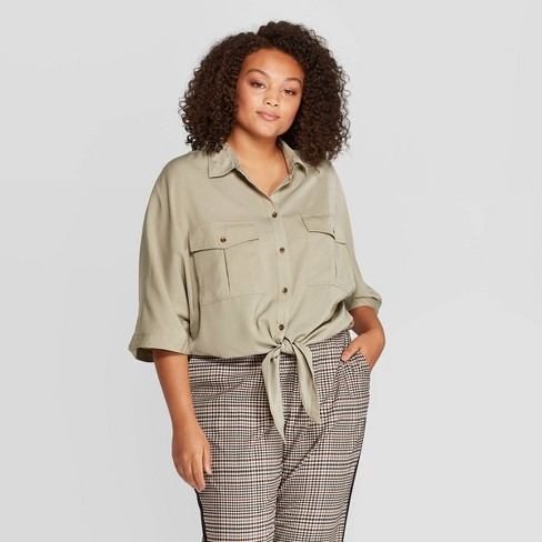 Women's Plus Size Elbow Sleeve Collared Front Button-Down Blouse - Who What  Wear™ Green