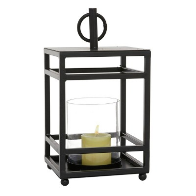 "15.5"" x 8"" Round Metal/Glass Candle Holder Black - Olivia & May"