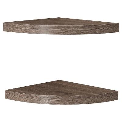 "(Set of 2)11.5"" x 1.5"" Radial Floating Corner Shelves Weathered Oak - Danya B."