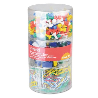 UNIVERSAL Combo Clip Pack Assorted Binder Clips/Paper Clips/Push Pins 31203