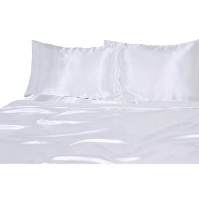 Luxury Satin 100% Polyester Woven Sheet Set King White