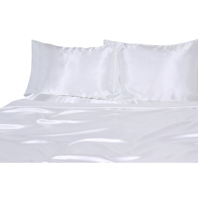 Luxury Satin 100% Polyester Woven Sheet Set Full White