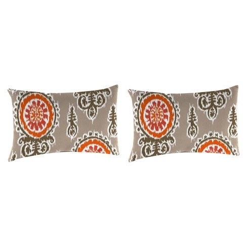 Outdoor Set Of 2 Rectangular Accessory Toss Pillows In Michelle Salmon  - Jordan Manufacturing - image 1 of 1