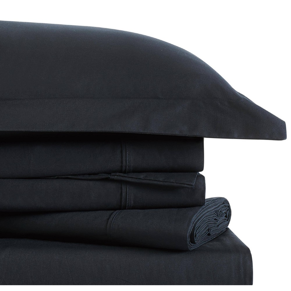 Image of Twin Classic Cotton Solid Sheet Set Black - Brooklyn Loom