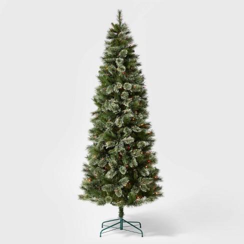 7 5ft Pre Lit Artificial Christmas Tree Slim Virginia Pine Multicolored Lights Wondershop Target