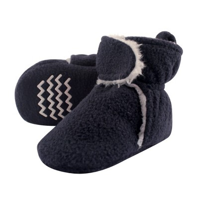 Hudson Baby Infant and Toddler Boy Cozy Fleece and Sherpa Booties, Navy