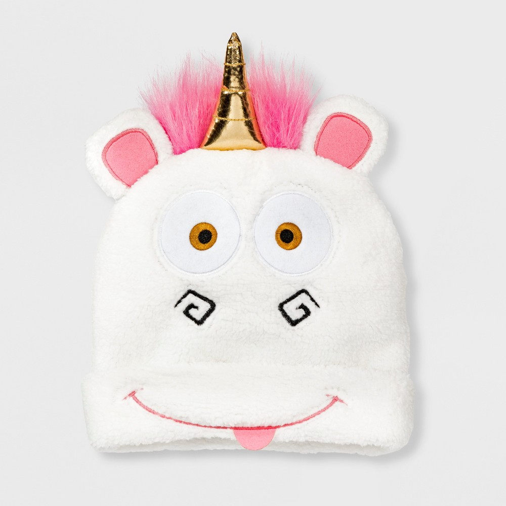Girls' Despicable Me Fluffy Unicorn 3D Cuffed Beanie - White One Size