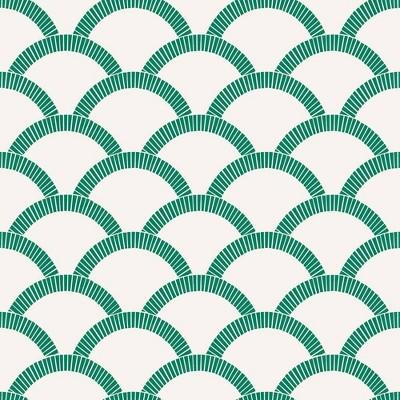 Tempaper Mosaic Scallop Self-Adhesive Removable Wallpaper Emerald Green