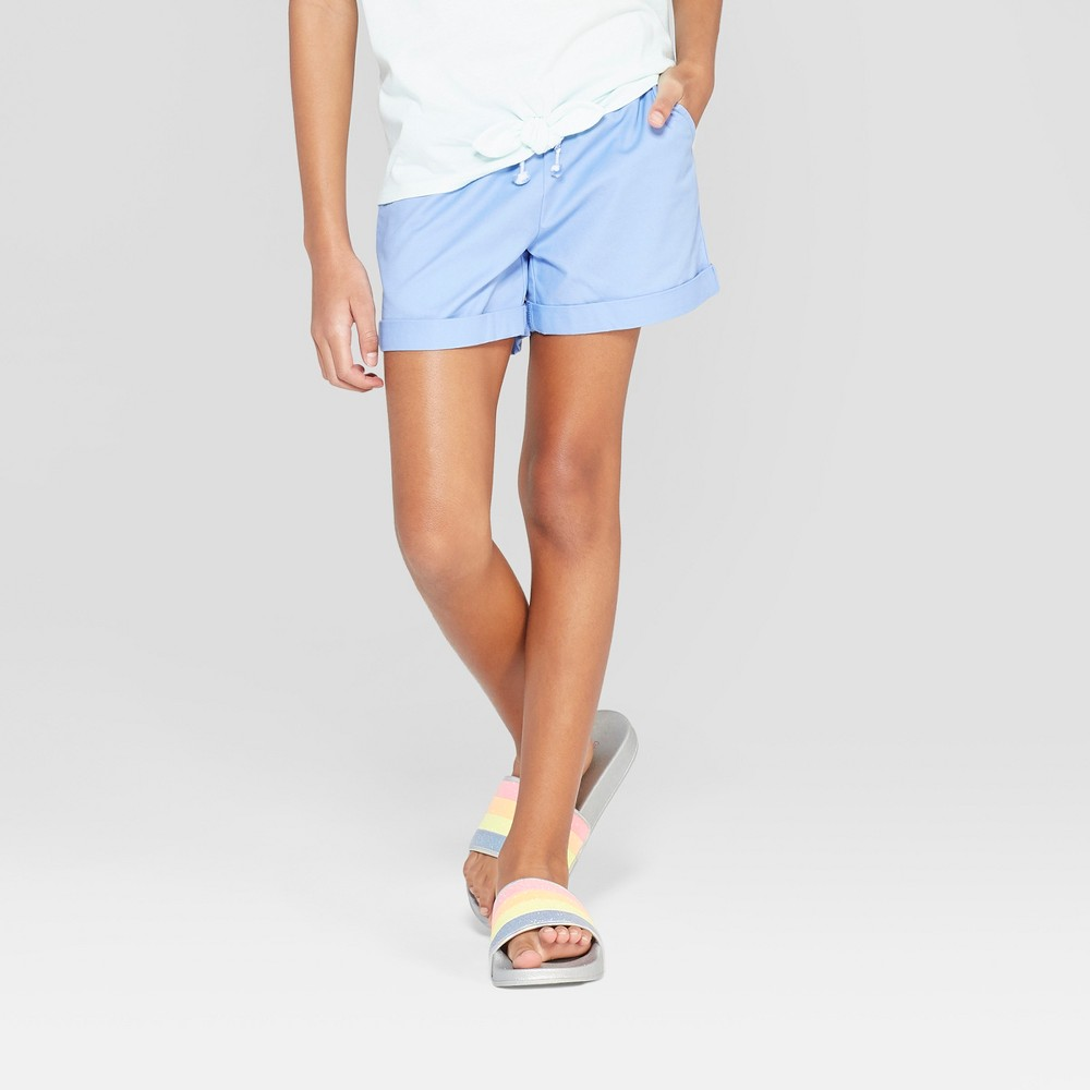 Girls' Woven Shorts with Rolled Hem - Cat & Jack Blue M
