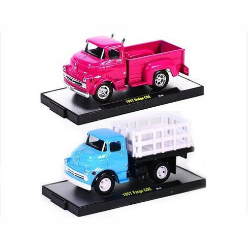 7dac570ae49 Auto Trucks 1957 Dodge 700 COE Pink & Blue 2 Cars Set Release 21D WITH  CASES 1/64 Diecast Model Cars by M2 Machines