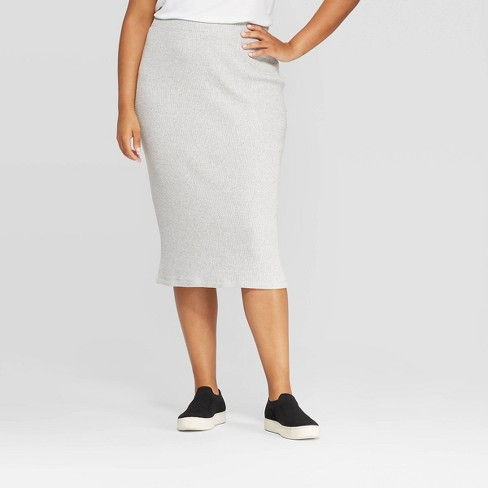 Women's Plus Size Rib Knit Skirt - A New Day™ - image 1 of 3