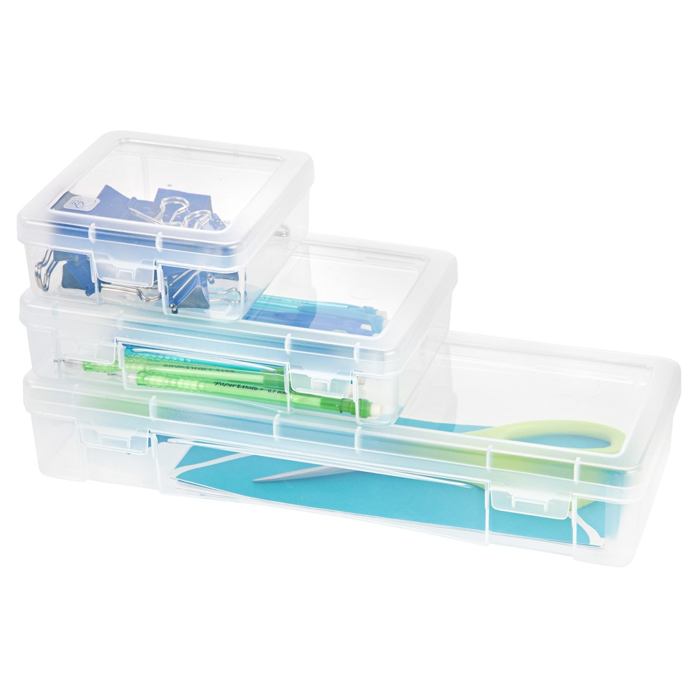 Iris School Supply & Craft Storage Clear - Set of 3 Keep all your craft, office, and school supplies organized with this 3 Piece Modular Supply Case Combo by Iris USA, Inc. These cases are also great for safeguarding small electronics and charger cords. These three sizes stack together as a modular system, offering the perfect storage solution for supplies of various sizes. Color: Clear. Age Group: Adult.