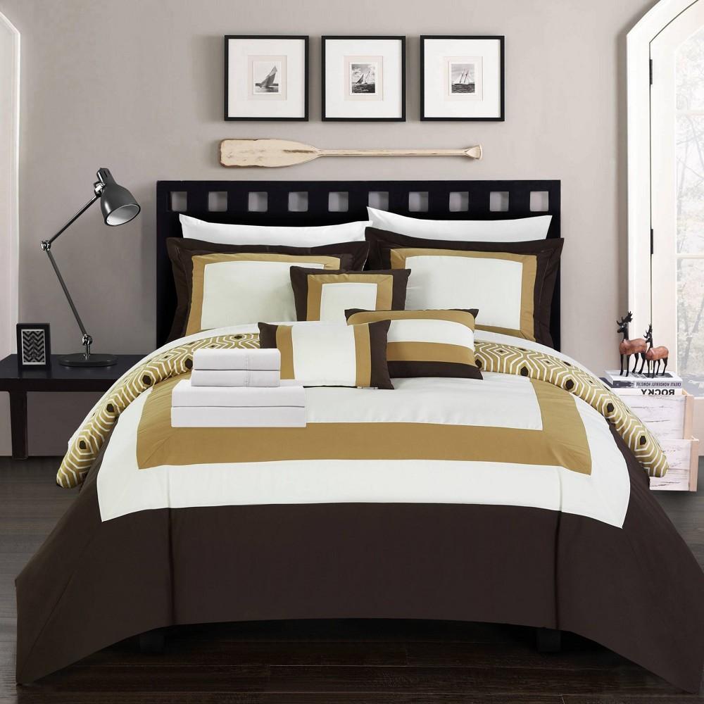 Queen 10pc Heldin Bed In A Bag Comforter Set Gold Chic Home Design