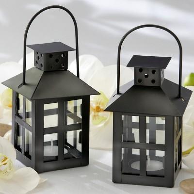 6ct Luminous Mini Lanterns Black