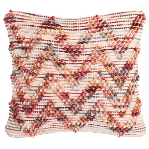 Looped Chevron Square Throw Pillow Red - Safavieh - image 1 of 2