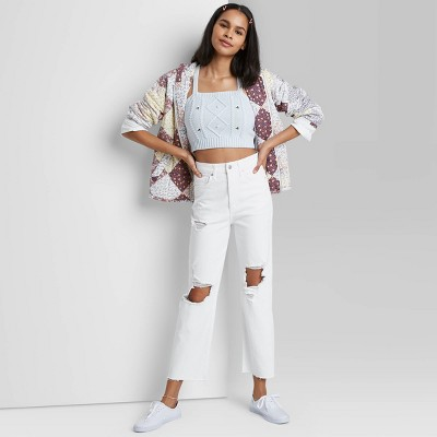 Women's Super-High Rise Distressed Straight Jeans - Wild Fable™ White