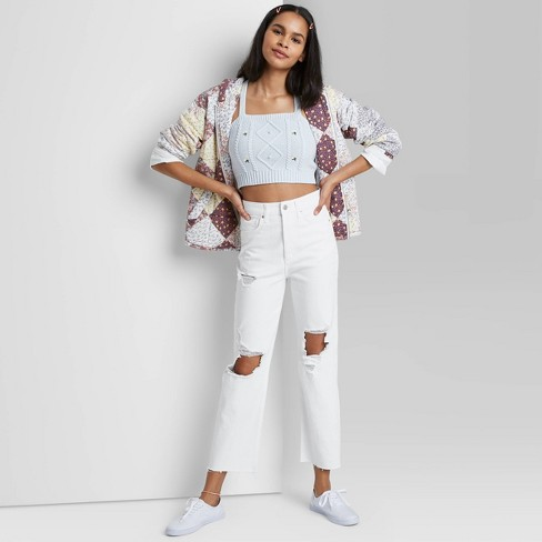 Women's Super-High Rise Distressed Straight Jeans - Wild Fable™ White - image 1 of 3