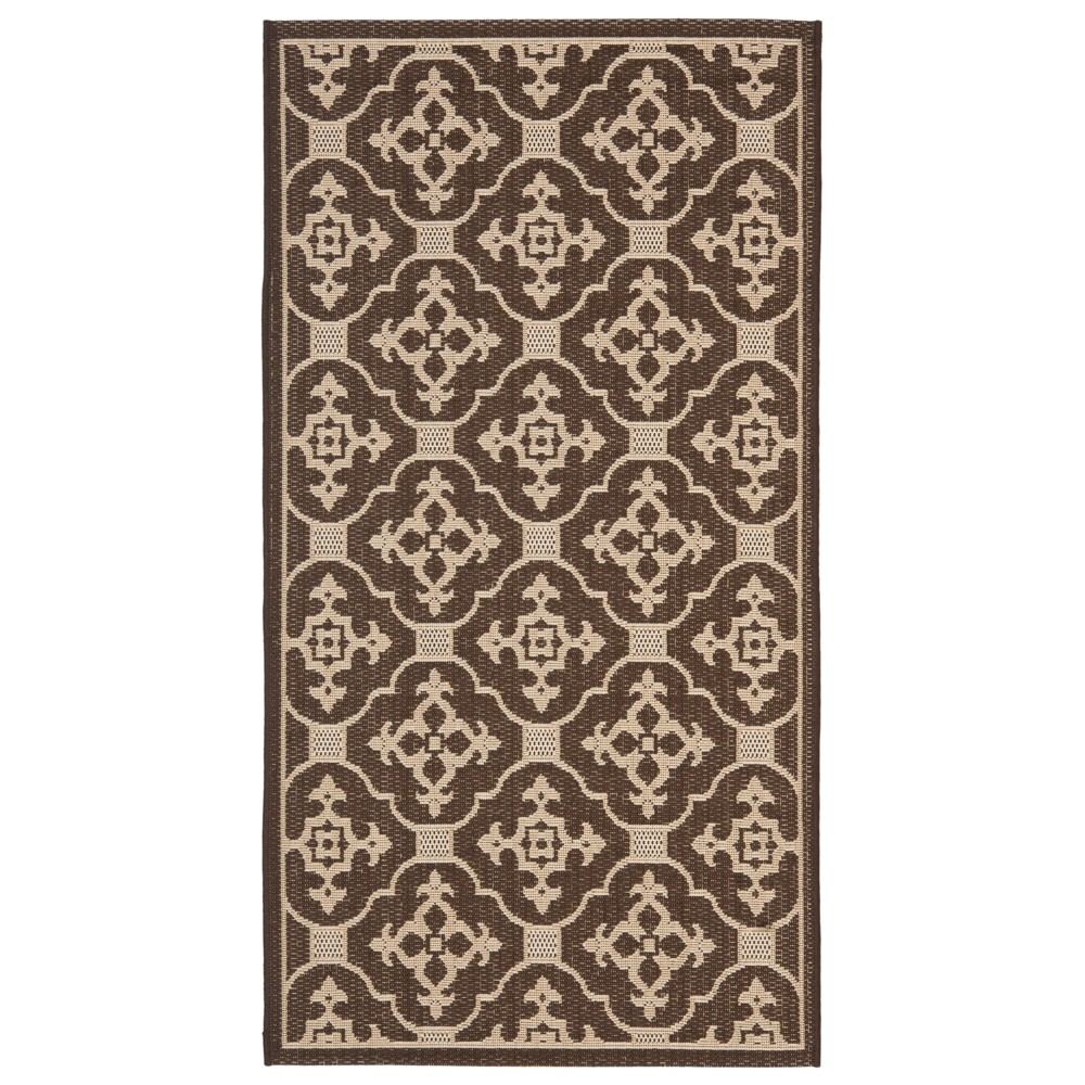 Coventry Rectangle 4' X 5'7 Outdoor Rug - Chocolate / Cream - Safavieh, Brown