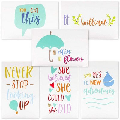 48-Count Motivational Cards, Inspirational Quote Note Card, 6 Assorted Encouragement Colorful Designs, Value Pack with Envelopes, 4 x 6 inches