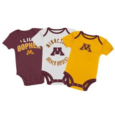 NCAA Minnesota Golden Gophers Baby Boys' 3pk Bodysuit Set