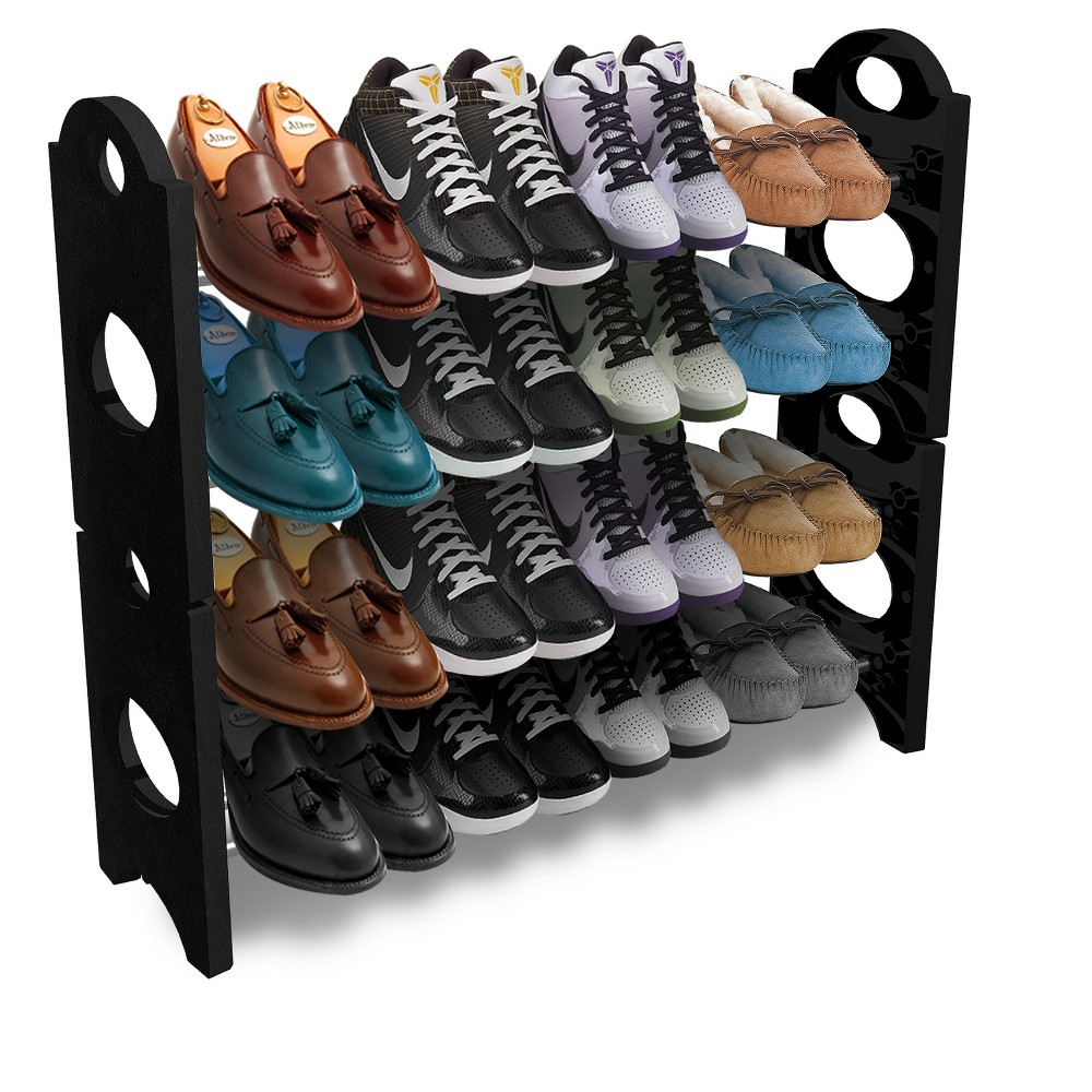 Sorbus Shoe Rack - Black/Silver Keep your footwear organized in style with this Sorbus Shoe Rack. This black shoe rack features black sides with cut-out accents and chrome-finish metal shelves; the shelves feature a double-bar design that gives you plenty of access to all your shoes. The four shelves provide ample space for a variety of footwear, helping you keep all your shoes, sandals and boots in one place. Plus, this free-standing shoe rack features a stackable design, helping you achieve space-saving storage whether you use this rack in your closet or your entryway. Color: Silver.
