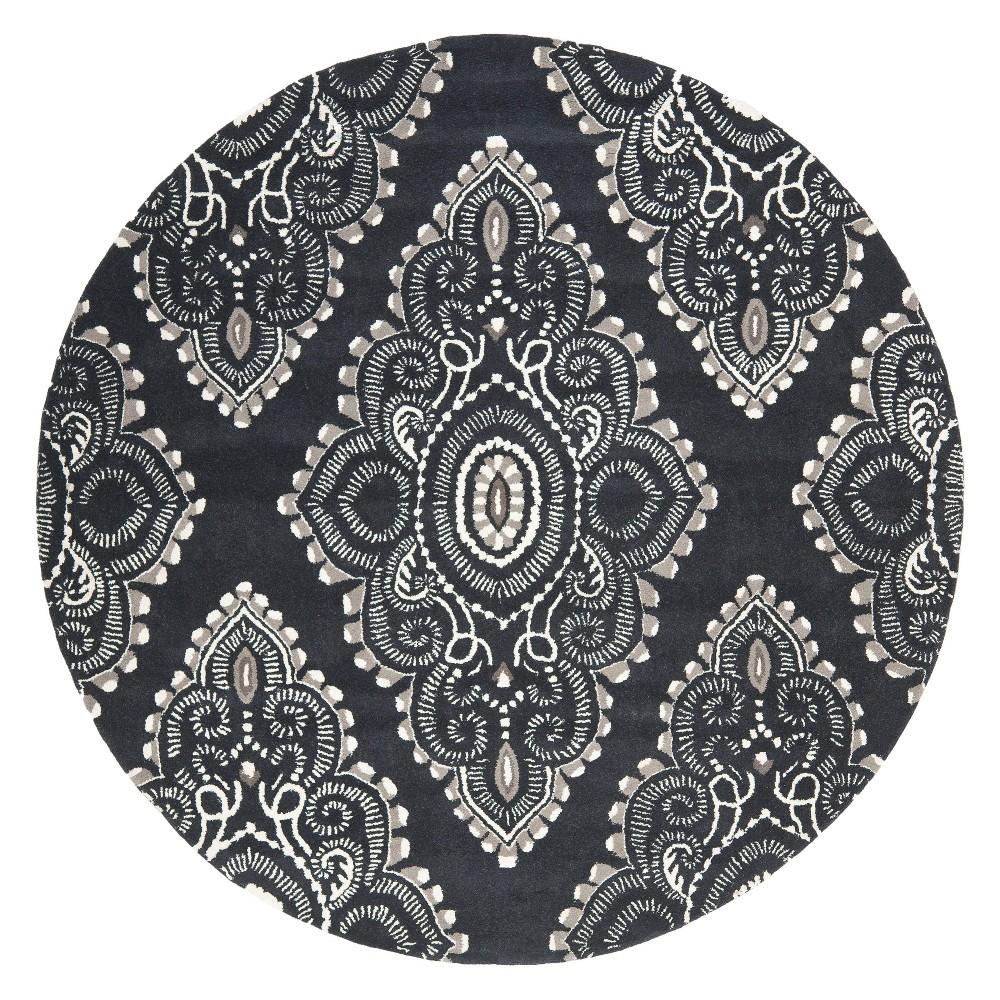 7 Medallion Tufted Round Area Rug Dark Gray/Ivory - Safavieh Best