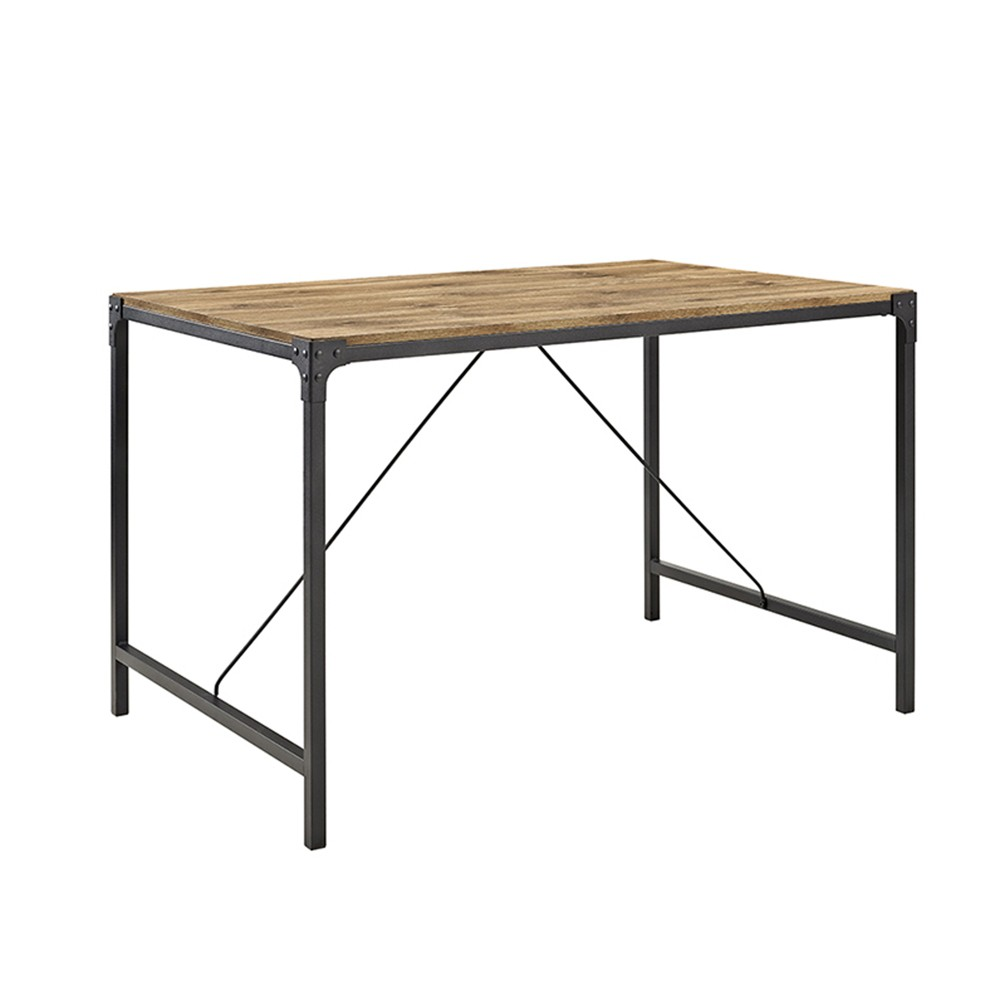 48 Angle Iron and Wood Trestle Style Dining Table - Brown - Saracina Home